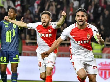 Falcao y Bernardo Silva celebran el primer gol del Mónaco (Foto: Getty)
