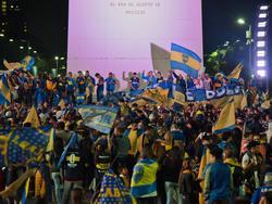 Aficionados de Boca celebran el título en el Obelisco de Buenos Aires. (Foto: Imago)