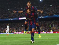 Dani Alves und Neymar während ihrer gemeinsamen Zeit beim FC Barcelona