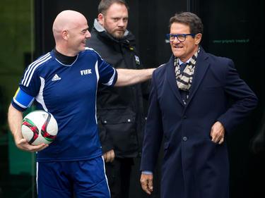Capello (r.), hier mit FIFA-Boass Gianni Infantino, ist seit 2015 ohne Job