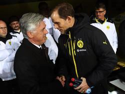 Treffen sich im Halbfinale: Bayern-Trainer Carlo Ancelotti (l.) und BVB-Coach Thomas Tuchel