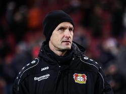 Leverkusens Trainer Heiko Herrlich wurde auf die Tribüne verwiesen