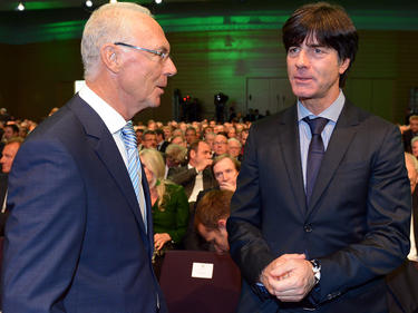Frank Beckenbauer und Joachim Löw (r.) trafen sich in Frankfurt
