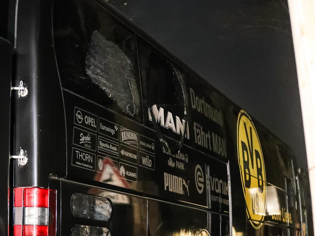 Autobús del equipo tras el atentado (Foto: Getty)