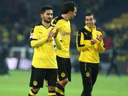 İlkay Gündoğan, Mats Hummels und Henrikh Mkhitaryan (noch) in schwarz-gelb