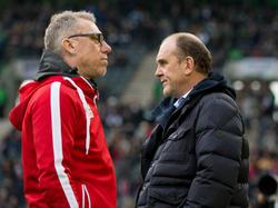 Kölns Sportchef Schmadtke (r.) macht sich genauso Sorgen wie FC-Coach Stöger (l.)