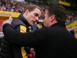 Dieter Hecking (r.) zollt BVB-Trainer Thomas Tuchel Respekt