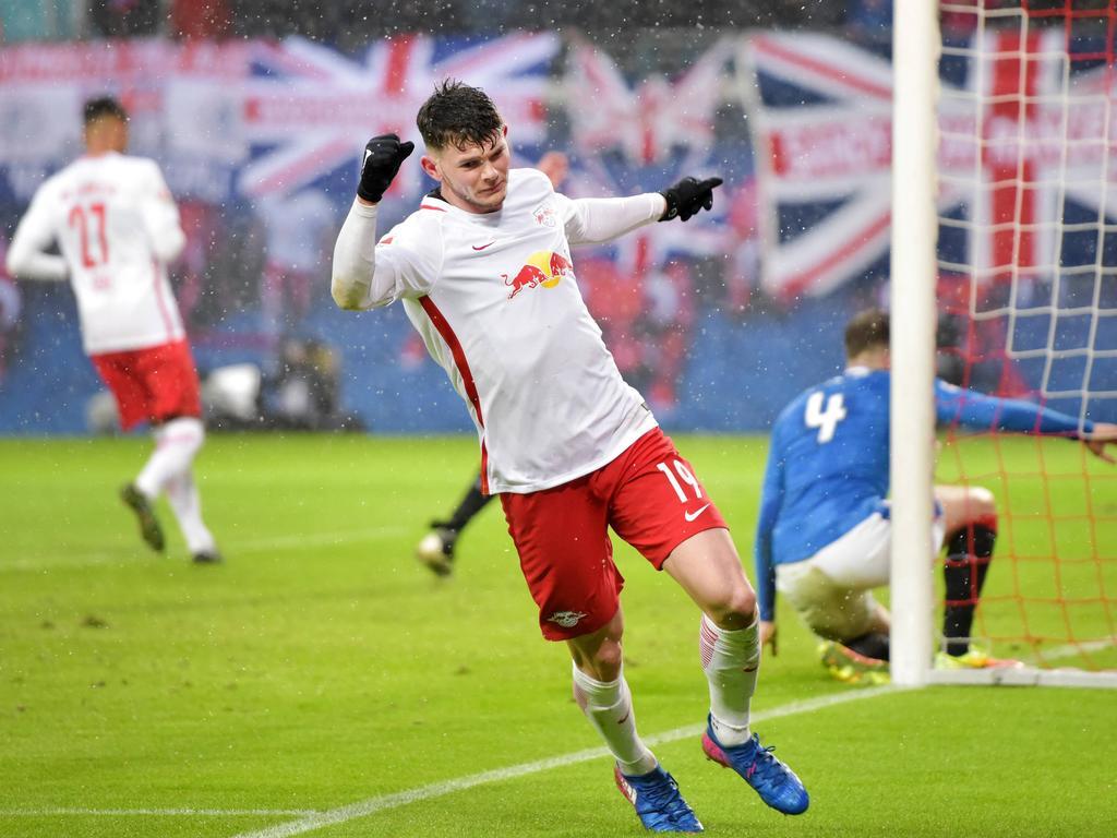 Oliver Burke von RB Leipzig erzielte gegen seine Landsleute einen Treffer