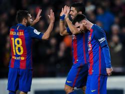 Jordi Alba, Luis Suárez und Lionel Messi (v. l.) erzielten die Tore für Barça