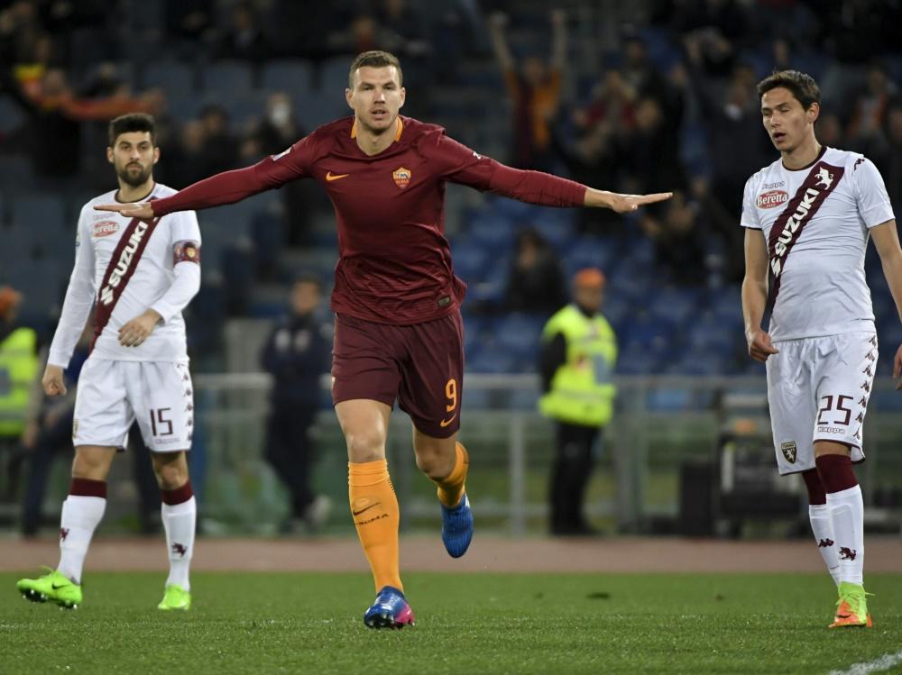 Edin Džeko trifft für AS Roma zum frühen 1:0