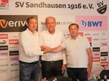Piegsa (Mitte) ist neuer kaufmännischer Geschäftsführer beim SV Sandhausen