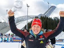 Darf wieder jubeln: Dahlmeier mit der Biathlon-Staffel