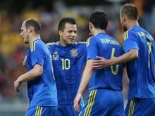 Die Ukrainer bejubeln einen Erfolg gegen Rumänien