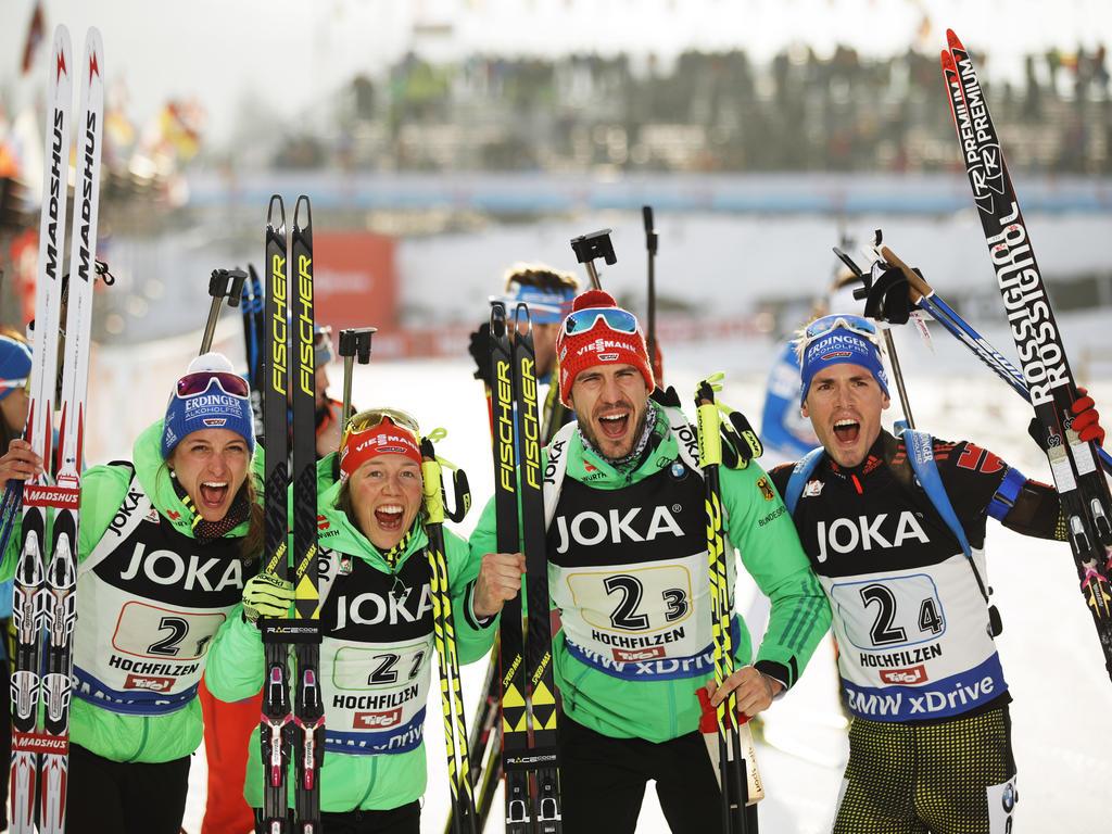 Vanessa Hinz, Laura Dahlmeier, Arnd Pfeiffer und Simon Schempp wollen an ihre letzten Erfolge anknüpfen