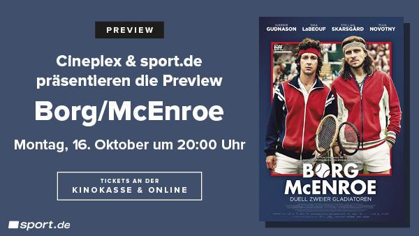 sport.de und CINEPLEX präsentieren die Preview zu Borg / McEnroe